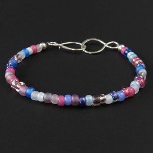 Beaded Bracelet - Pink, White and Blue