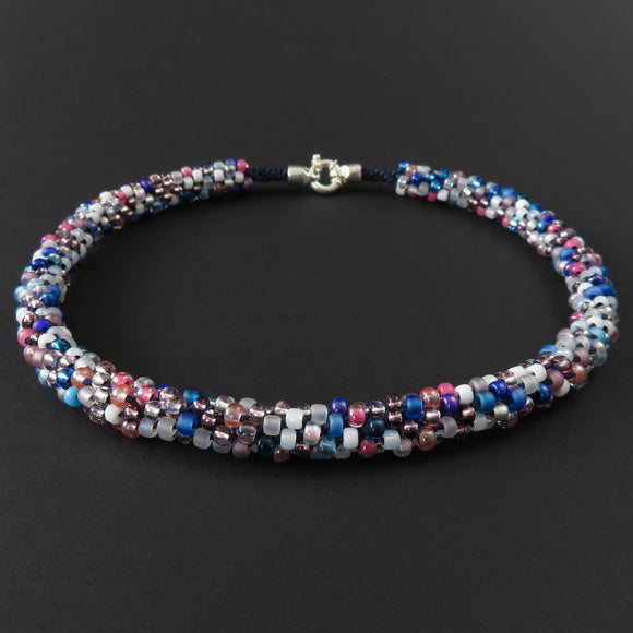 Braided necklace - Pink, white and blue on blue (full)
