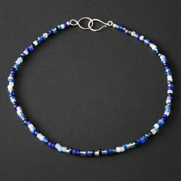 Beaded Necklace - Blue and White