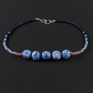 Polymer clay - Pink, white and blue (5 bead)