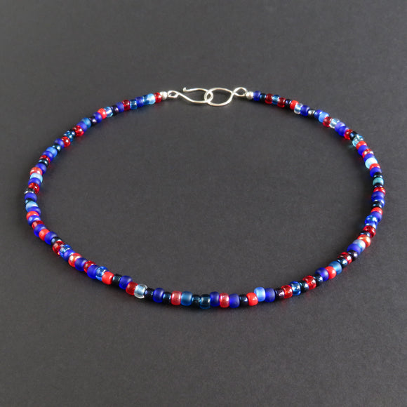 Beaded Necklace - Red and Blue