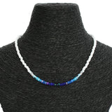 Beaded Necklace - Blue and White Ombré
