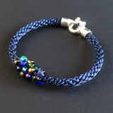 Braided Bracelet With Beads - Peacock on Dark Blue