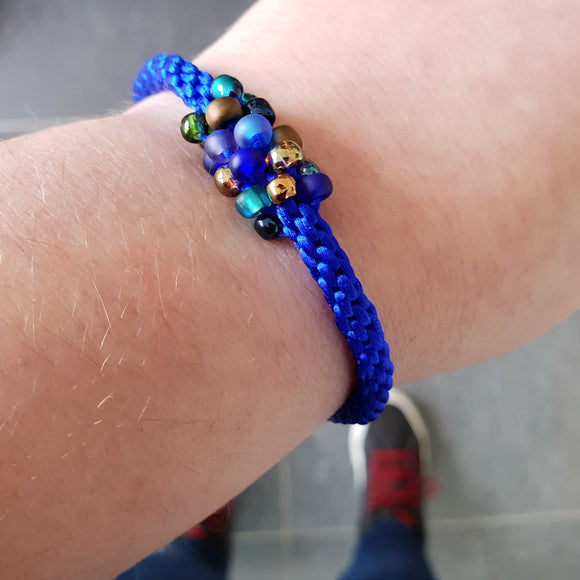 Braided Bracelet With Beads - Peacock on Azure Blue