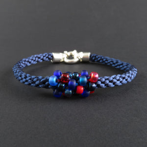 Braided Bracelet With Beads - Red and Blue on Midnight Blue