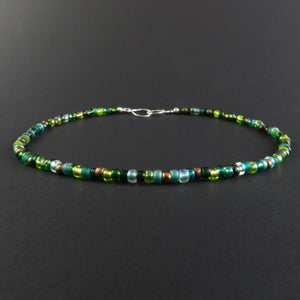 Beaded Necklace - Green and Bronze