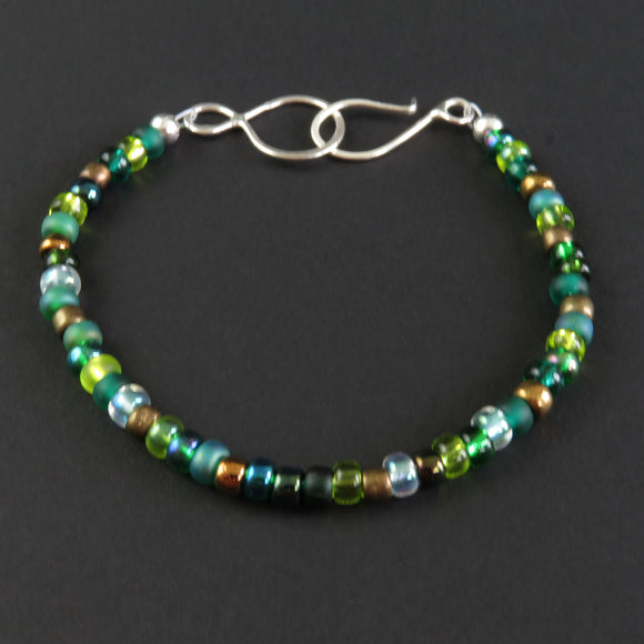 Beaded Bracelet - Green and Bronze