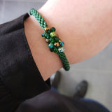 Braided Bracelet With Beads - Green and Bronze on Emerald Green