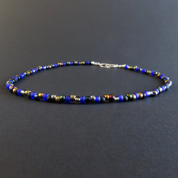 Beaded Necklace - Blue and Bronze