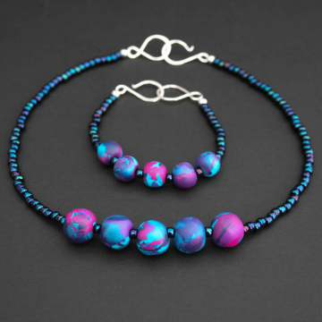 Polymer clay - Pink, blue and turquoise set