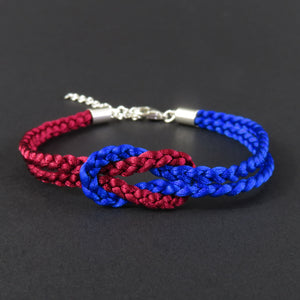 Reef Knot Bracelet - Burgundy and Bright Blue