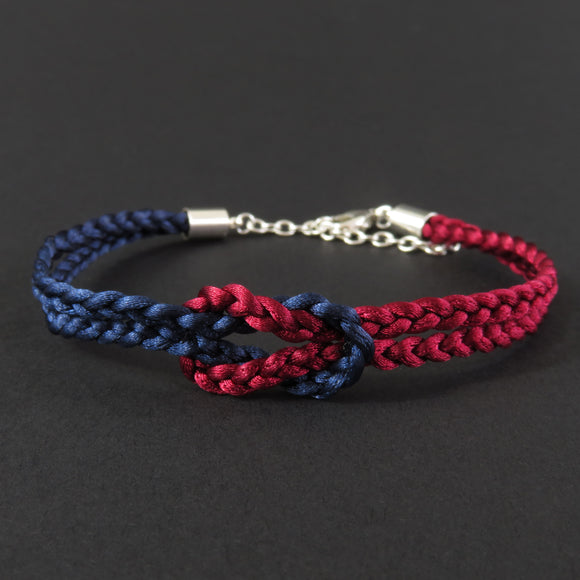 Reef Knot Bracelet - Burgundy and Dark Blue
