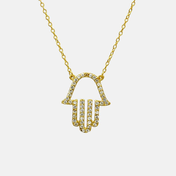 """Hand of Glam"" Gold-Dipped Hamsa Stone Necklace 16 inch"