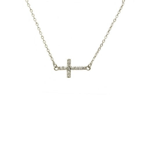 Mini Sterling Silver Cross Necklace with Stones