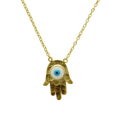 """Eye of Providence"" Gold-Dipped Hamsa Necklace"