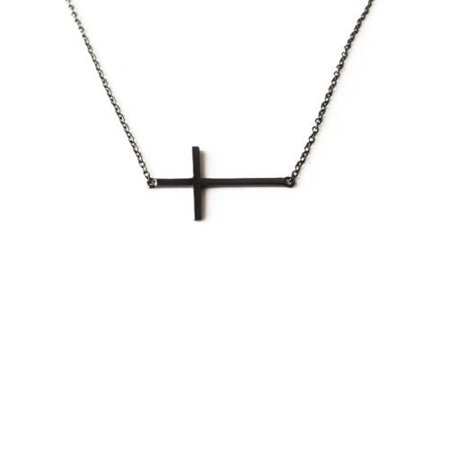 Blackened Silver Cross Pendant Necklace