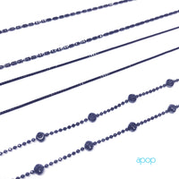 """Pluto"" Black Silver Beaded Chain Necklace"