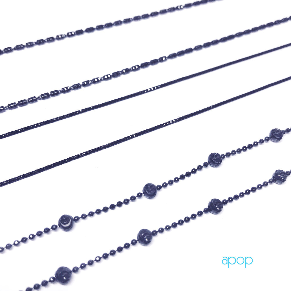 """Twinkle Bar"" Black Silver Bar Chain Necklace"