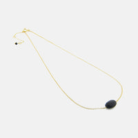 """Ooh-La-La Onyx"" Gold-Dipped Onyx Stone Necklace 16-18 inch"