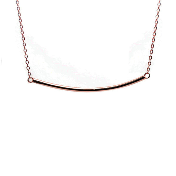 Rosy Plain Bar Necklace