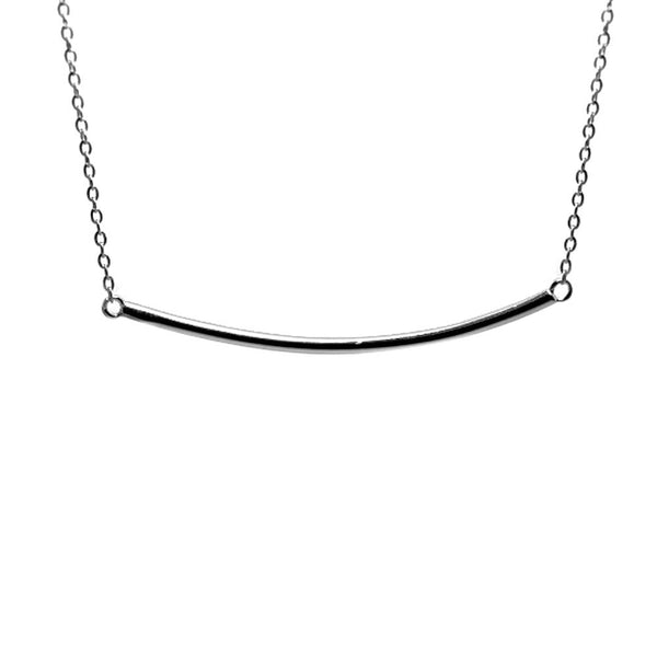 Sterling Silver Plain Bar Necklace