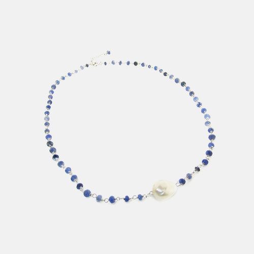 Gold-Dipped Single Freshwater Pearl Sapphire Necklace 17 inch