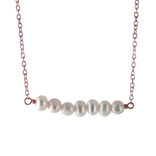 Rosy Pearl Bar Pendant Necklace
