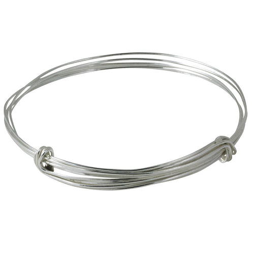 Sterling Silver Adjustable Wired Bangle Bar Bracelet