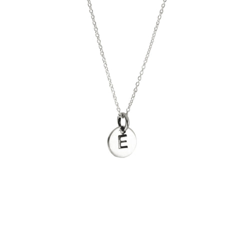 925 Silver Alphabet Letter Disc Charm Pendant Necklace