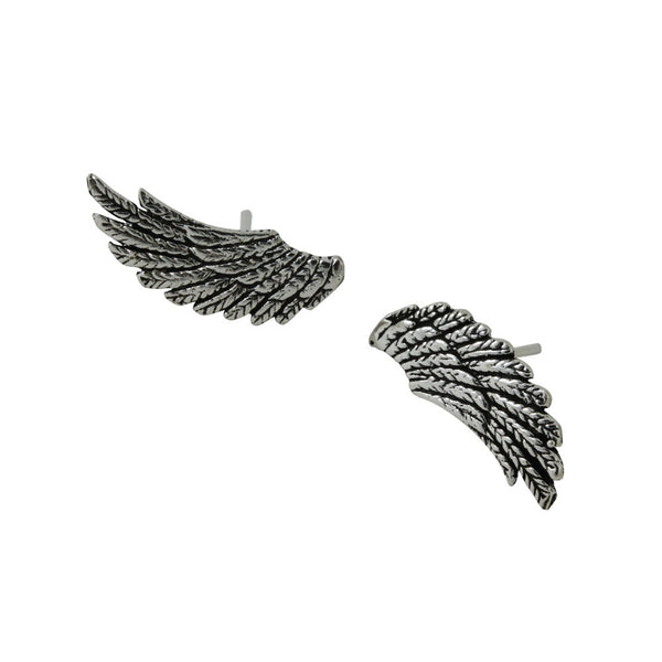 Sterling Silver Angel Feather Wings Stud Earrings