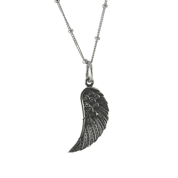 Sterling Silver Soaring Angel Feather Wing Pendant Necklace