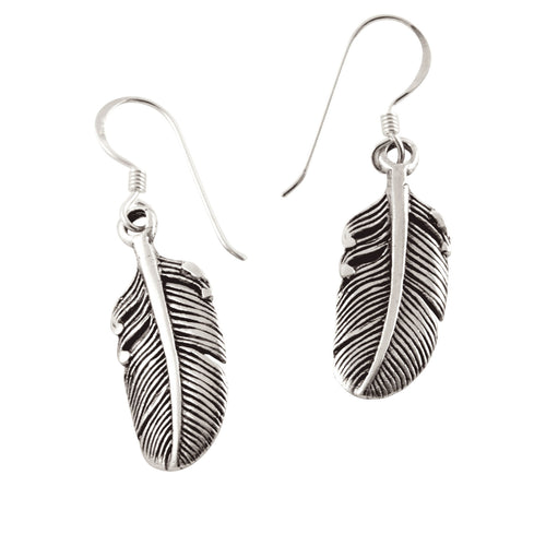Sterling Silver Soaring Feather Drop Earrings
