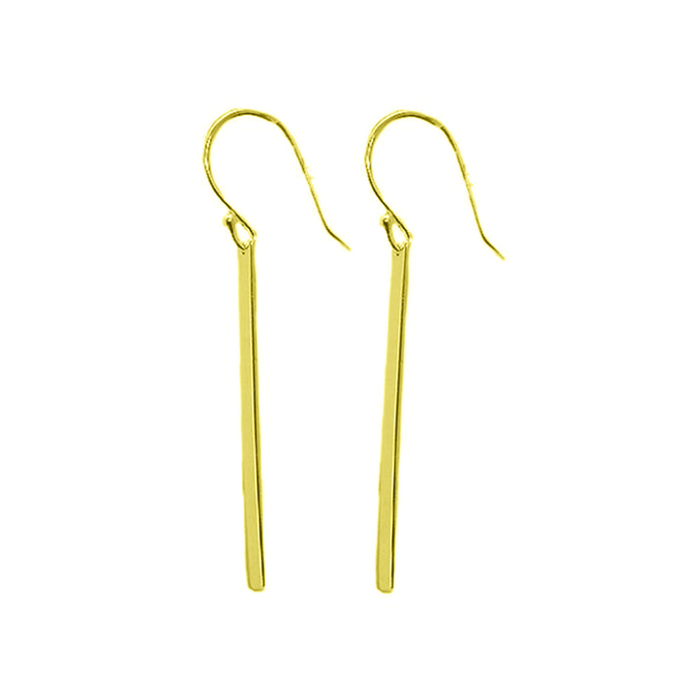 """Lollipop"" Sterling Silver Plain Bar Drop Earrings"