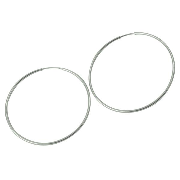 Sterling Extra Large Plain Endless Hoop Earrings