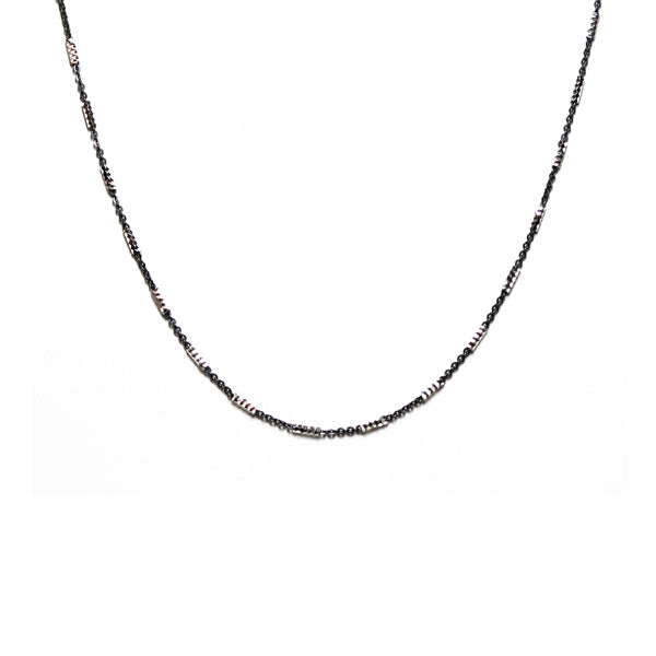 Two-Tone Sterling & Black Chain Necklace 30 inch