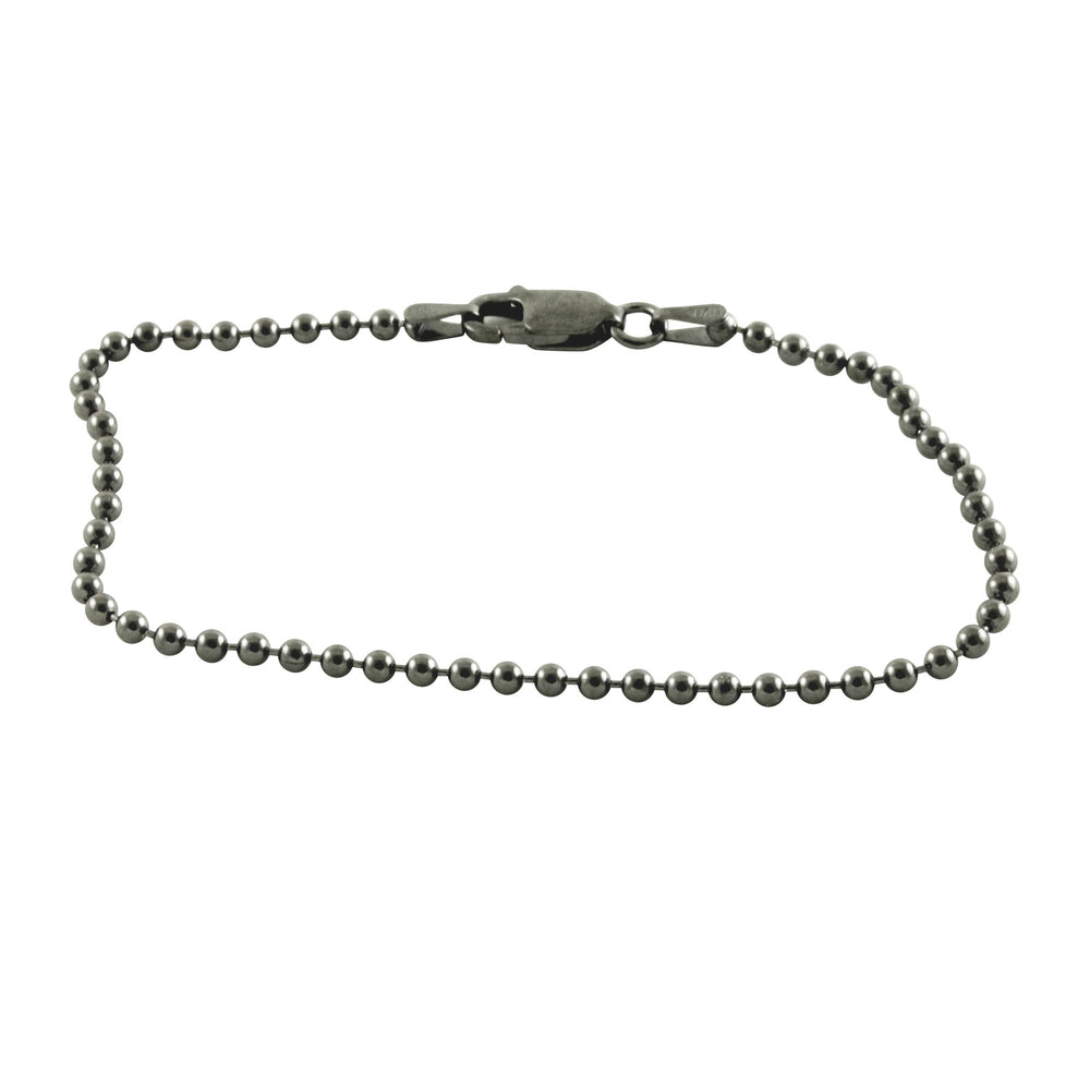 Blackened Silver Bead Chain Bracelet