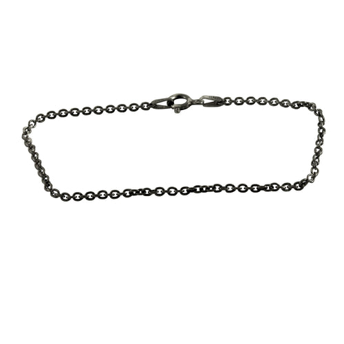 Simple Blackened Silver Link Chain Bracelet