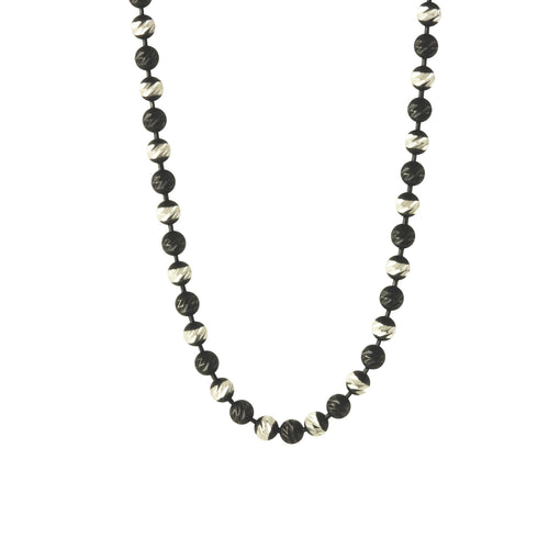 Black & White Beaded Chain Necklace - Mixed Metal Style