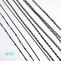 """Glitzy"" Blackened Silver Thin Chain Necklace"