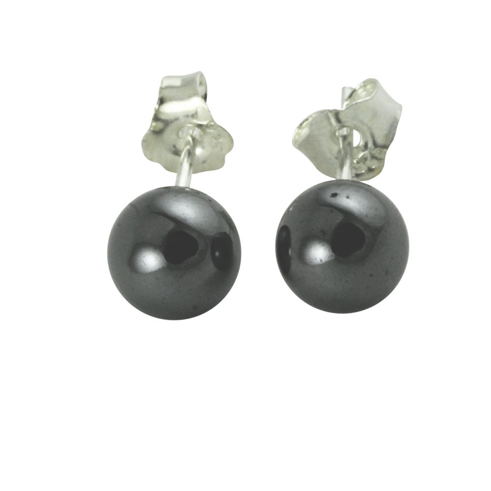 Sterling Silver Round Mini Hematite Earrings Studs