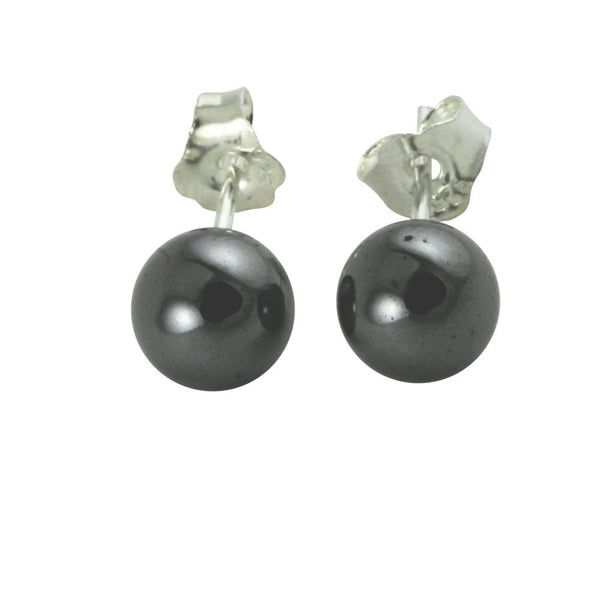 Round Hematite Earrings Studs