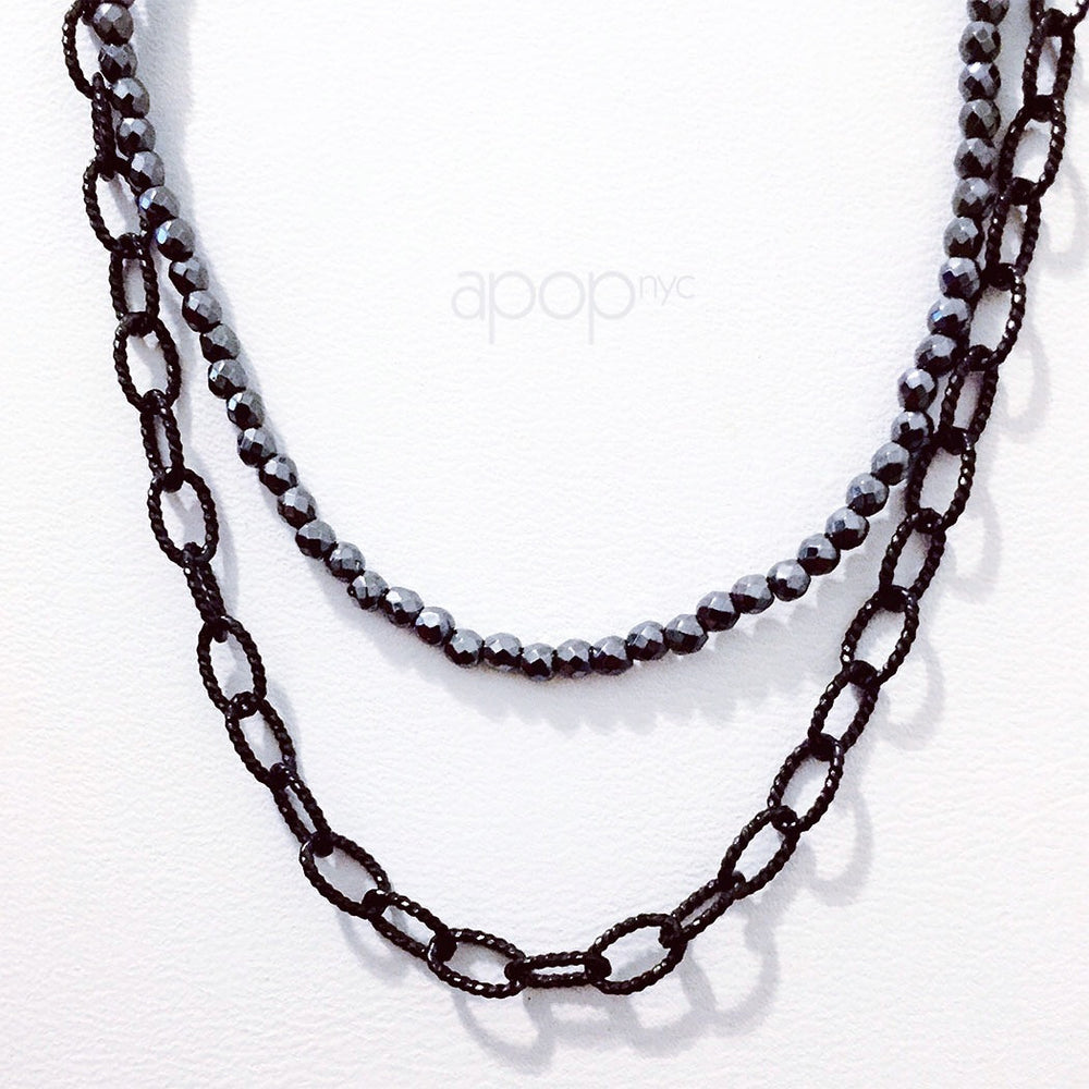 """Gryt"" Black Cable Links Layering Necklace"