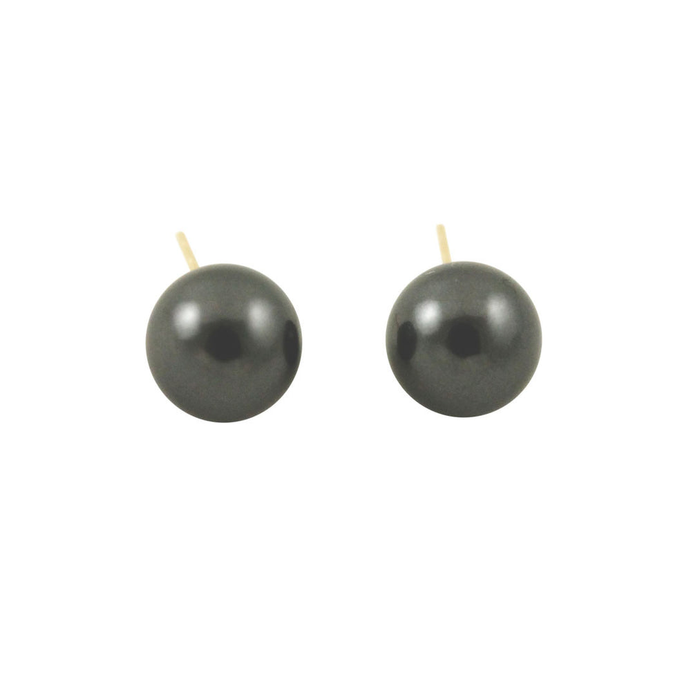 Black Pearl 14k Post Stud Earrings