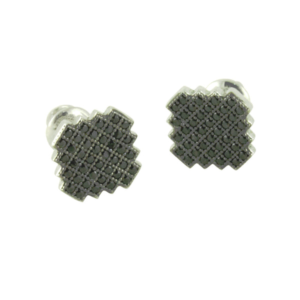 Blackened Silver Pave ScrewBack Stud Earrings