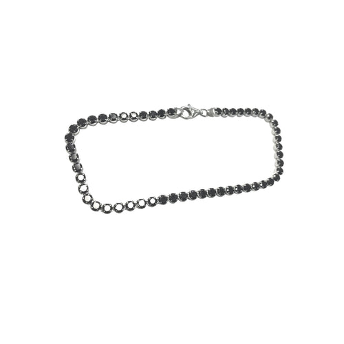 Sterling Silver Black CZ Tennis Bracelet