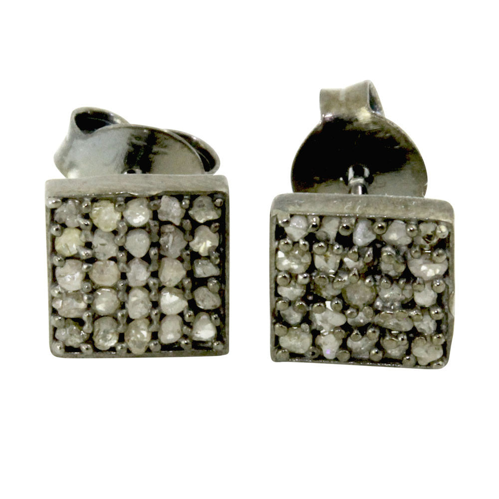 """Dazzle"" Black Silver Pave Cluster Diamond Square Earrings"
