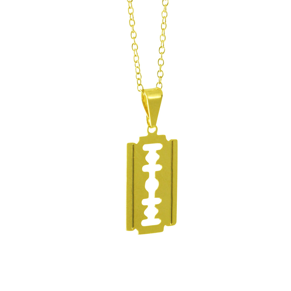 Gold Plated Blade Square Pendant Necklace