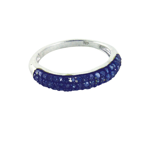 Sterling Silver Pave Cluster Blue Diamond Band Ring
