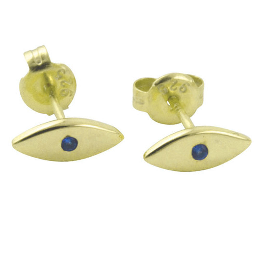 Gold-Dipped Mini Blue Eye Stud Earrings