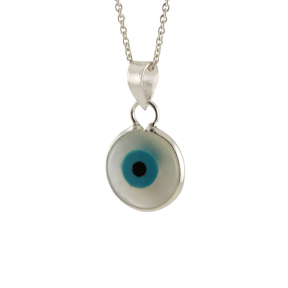 Silver blue eye pendant necklace 16 inch 36 inch apop sterling silver blue eye pendant aloadofball Images